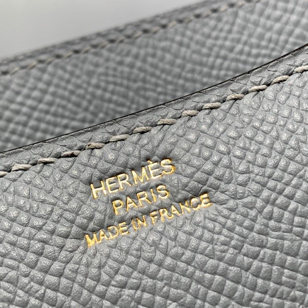 爱马仕空姐包价格 Hermes Constance19CM 亚麻蓝Epsom牛皮 金扣