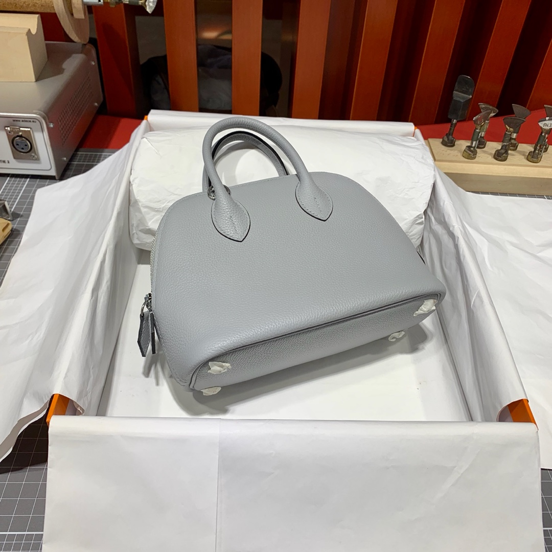 现货 Hermes Mini Bolide18CM 爱马仕冰川灰法国Evercolor皮迷你保龄球包