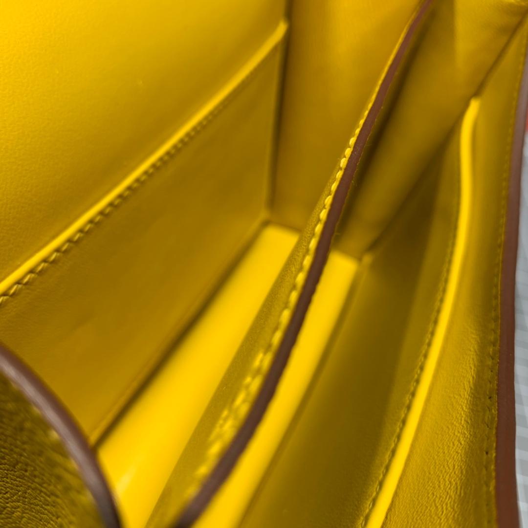 爱马仕康斯坦包价格 Hermes琥珀黄原厂Epsom牛皮Constance19CM 银扣