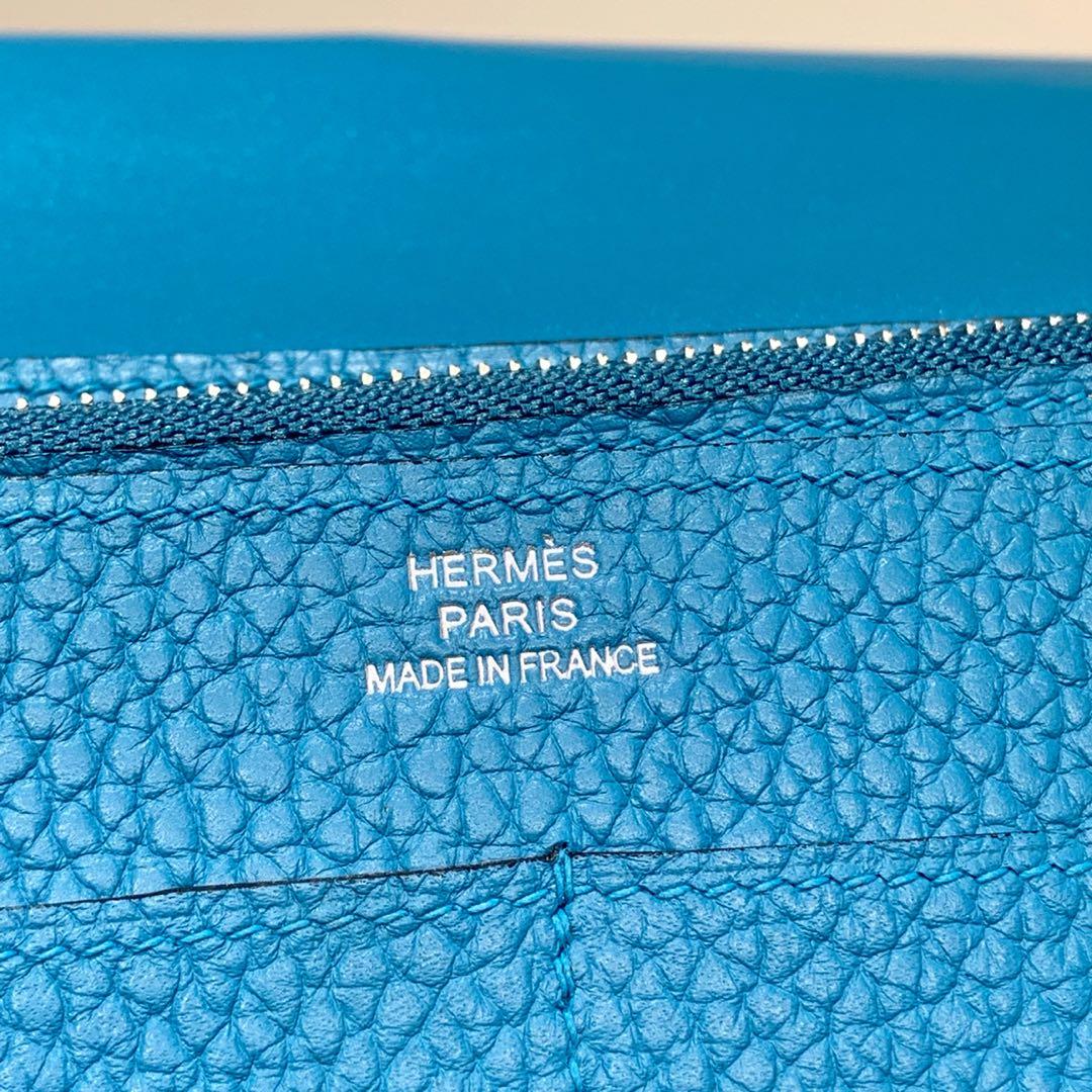 爱马仕Dogon钱夹 Hermes孔雀蓝荔枝纹牛皮Dogon护照本卡包 银扣