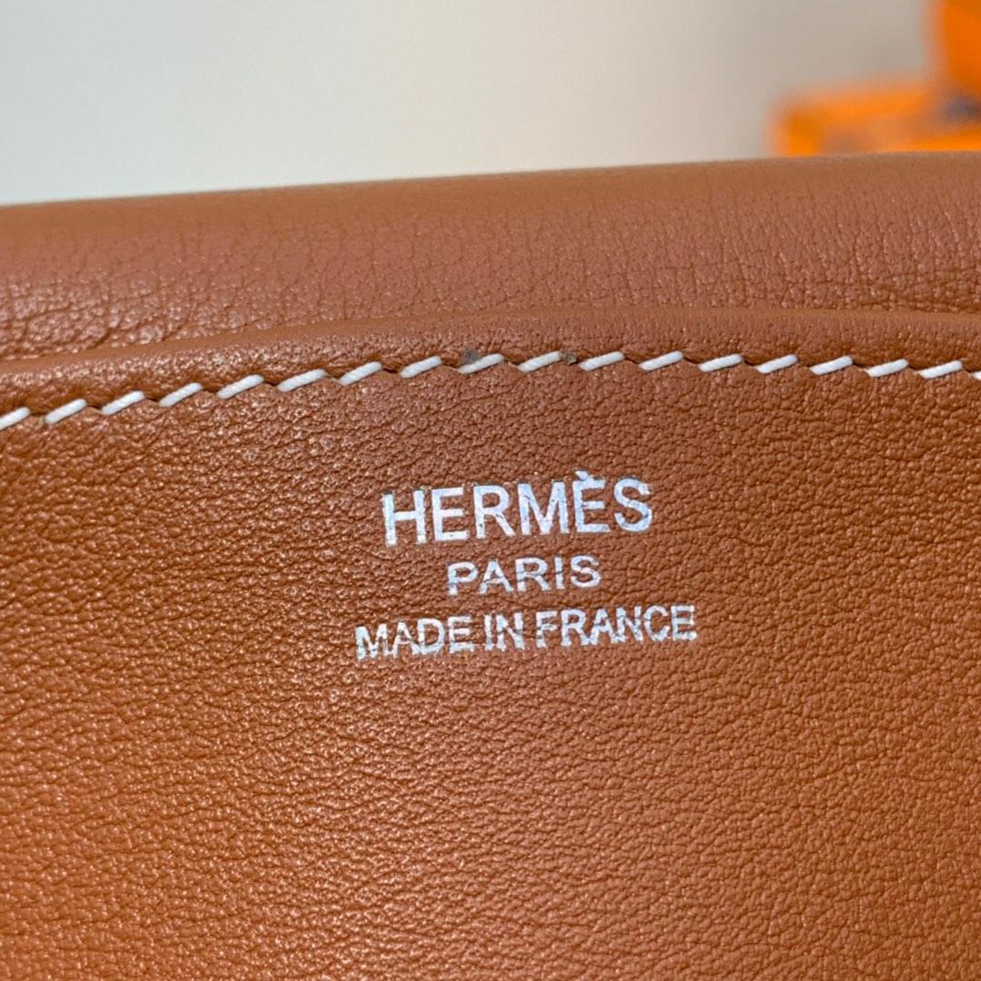 Hermes包包官网 爱马仕土黄色进口Swift牛皮mini Halzan手提斜挎包22cm