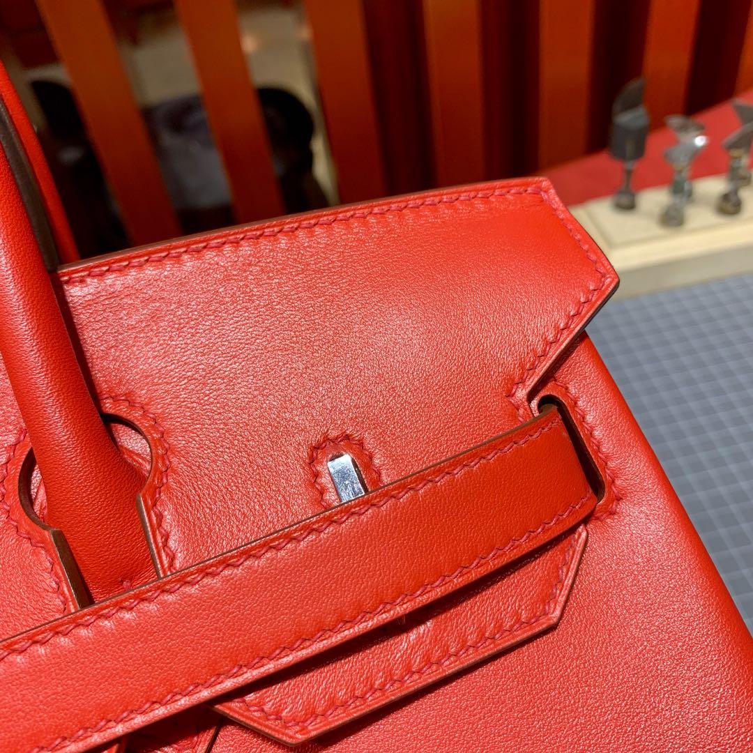 Hermes Birkin30CM 爱马仕S3心红色Swift牛皮苏格兰铂金包 银扣