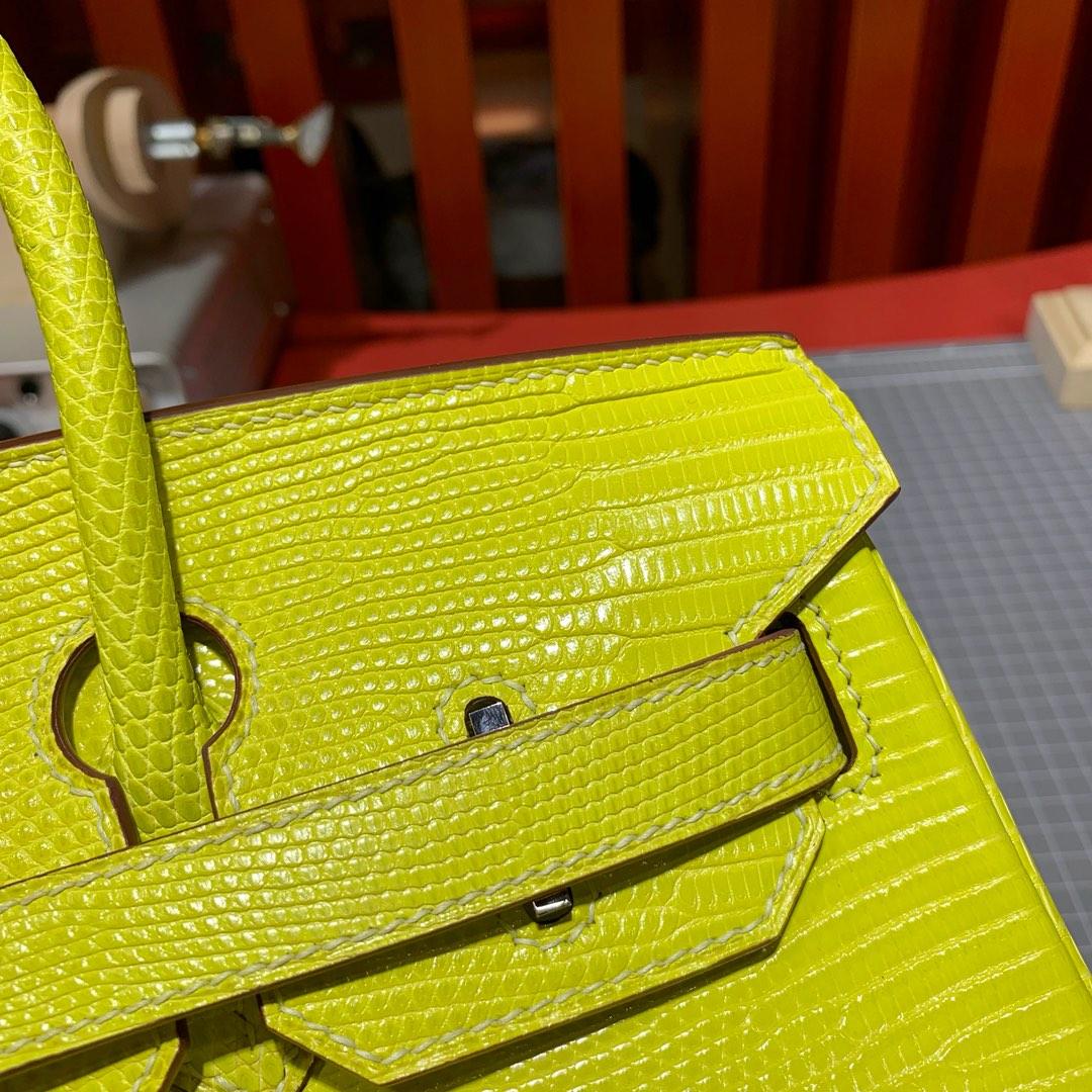 现货 爱马仕铂金包价格 Hermes Birkin30CM 柠檬黄蜥蜴皮 银扣