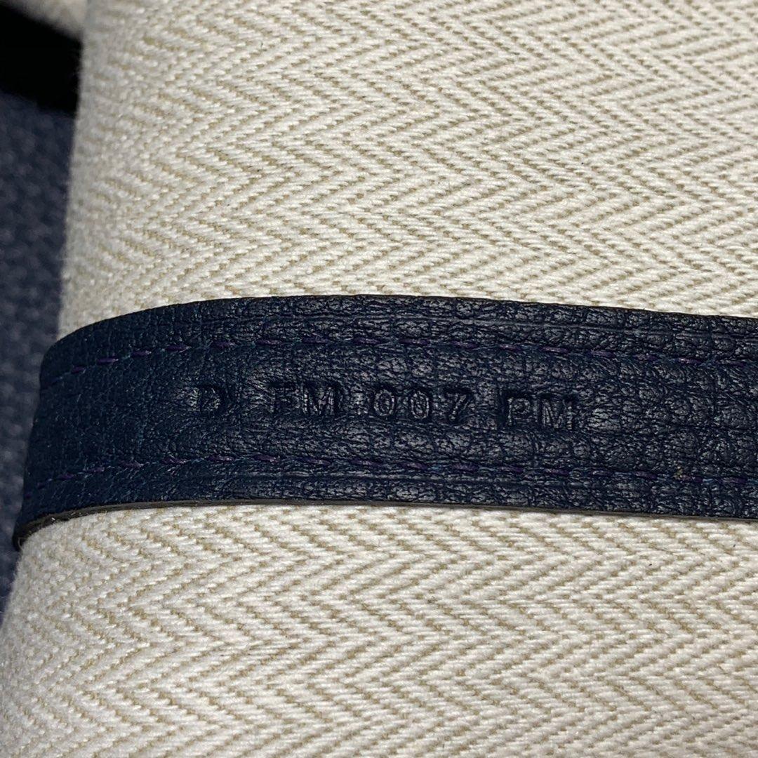 Hermes女包价格 爱马仕N7风暴蓝进口Negonda皮Garden Party花园包 银扣