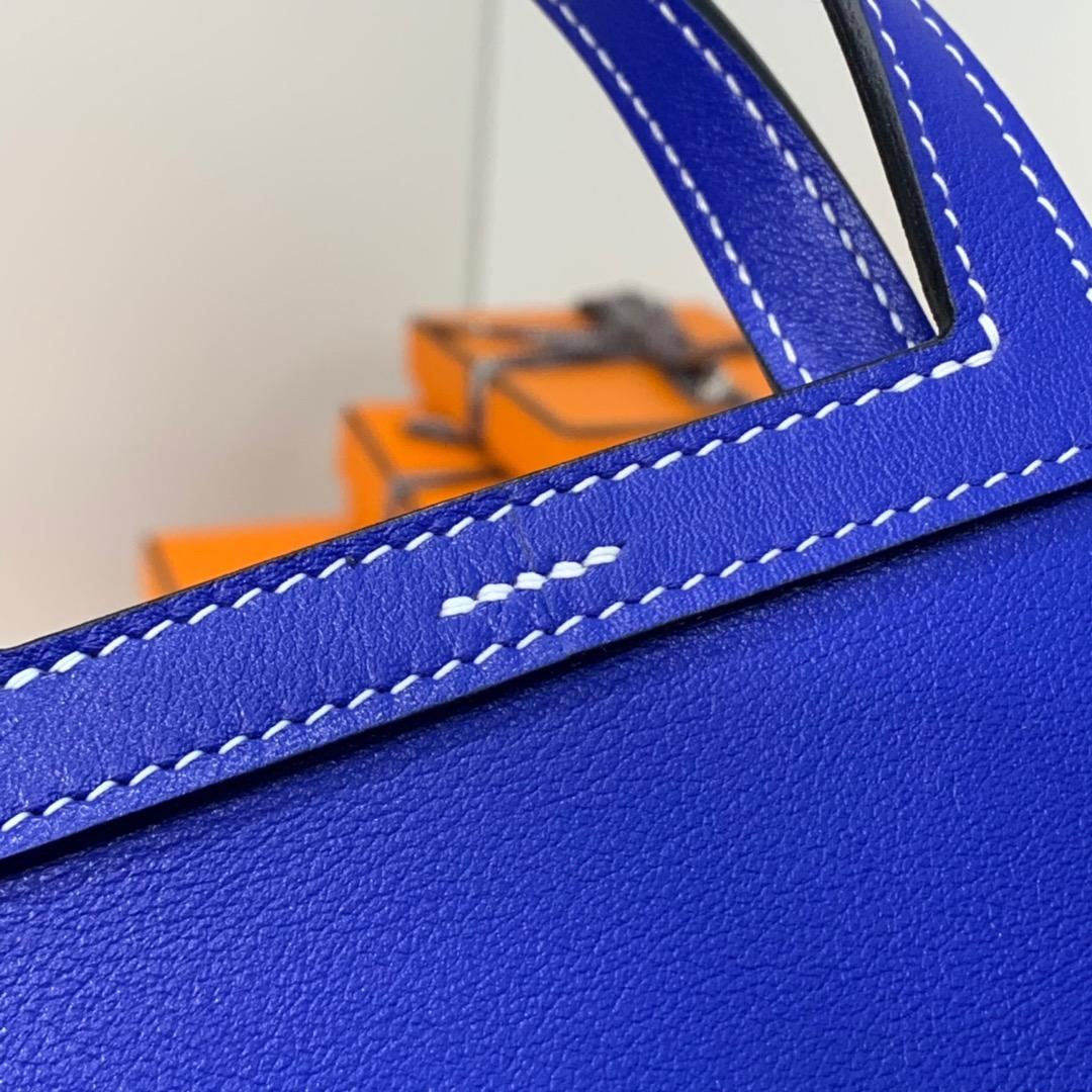 爱马仕新款包包 Hermes电光蓝进口Swift牛皮mini Halzan手提包 银扣