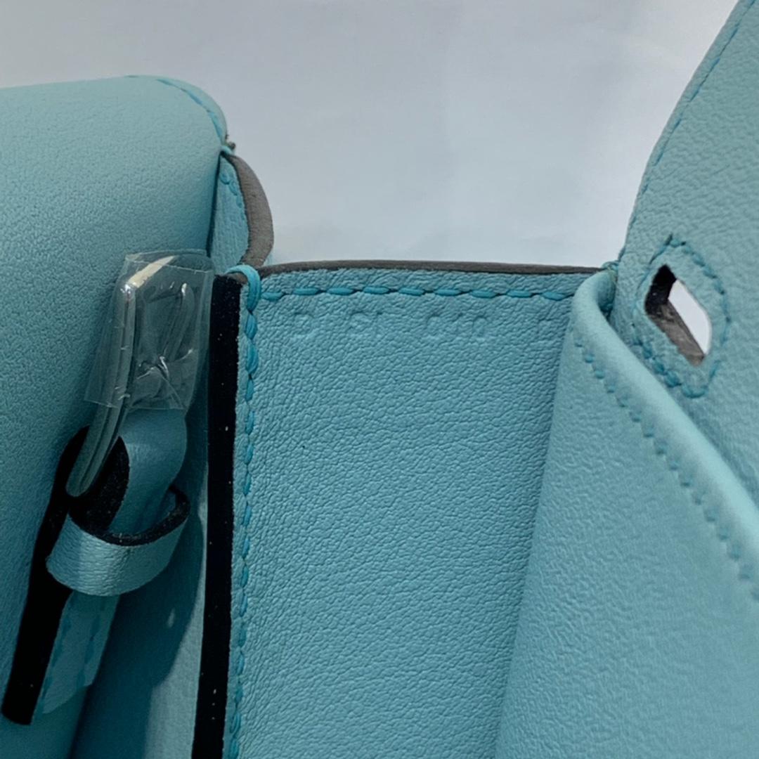 现货 Hermes mini Halzan22CM 爱马仕微风蓝Swift牛皮手提斜挎包