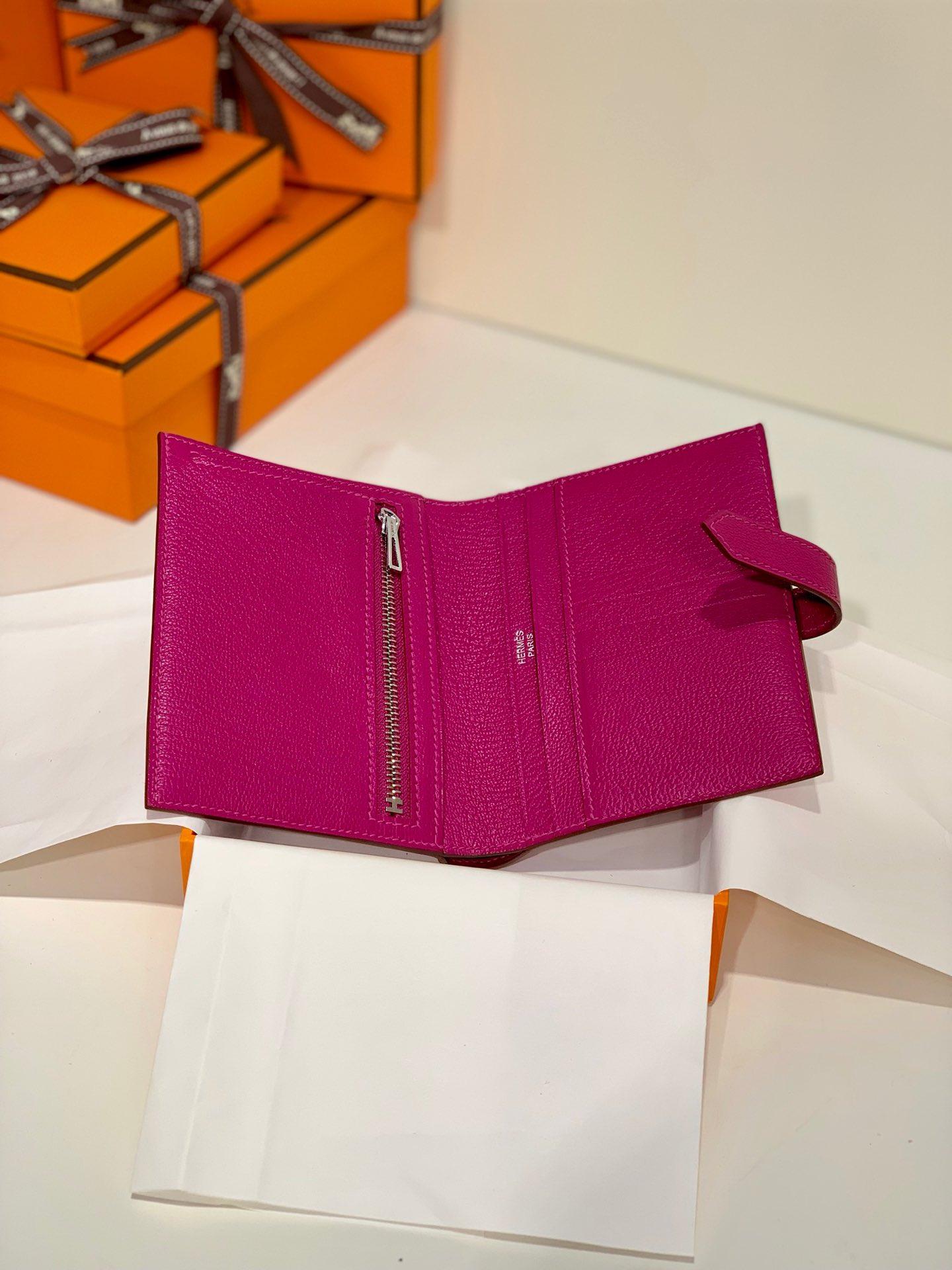 现货 Hermes钱包价格 爱马仕进口山羊皮Bearn钱包 L3玫瑰紫 银扣