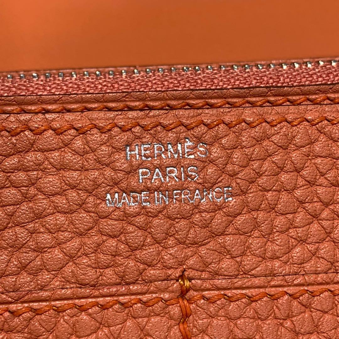 爱马仕包包官网 Hermes Dogon 龙虾粉进口Togo皮护照夹钱包 银扣