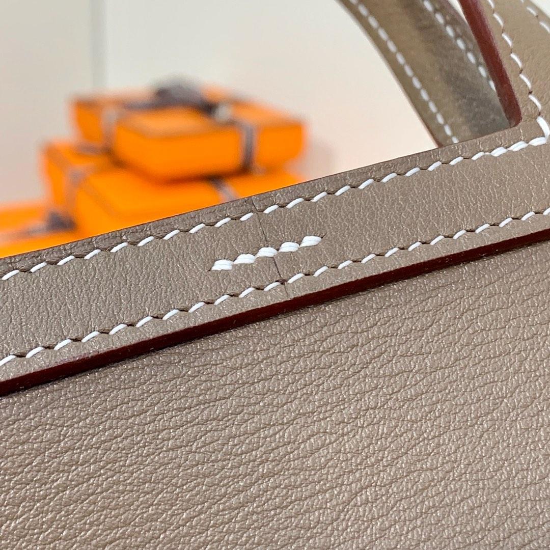 现货 爱马仕包包价格 Hermes mini Halzan22CM 大象灰Swift牛皮 银扣