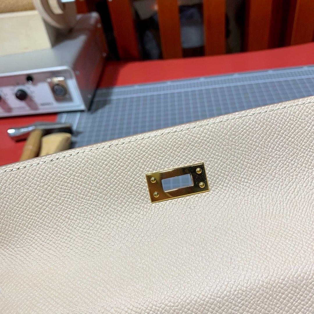 现货 爱马仕凯莉包 Hermes Kelly25cm P1蔷薇粉原厂Epsom皮 金扣
