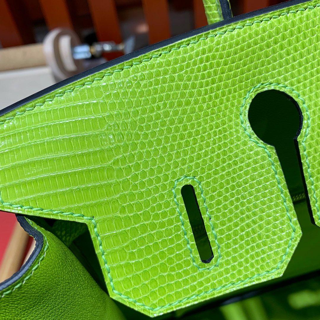 现货 Hermes Birkin30cm 爱马仕浅绿色进口蜥蜴皮铂金包 银扣