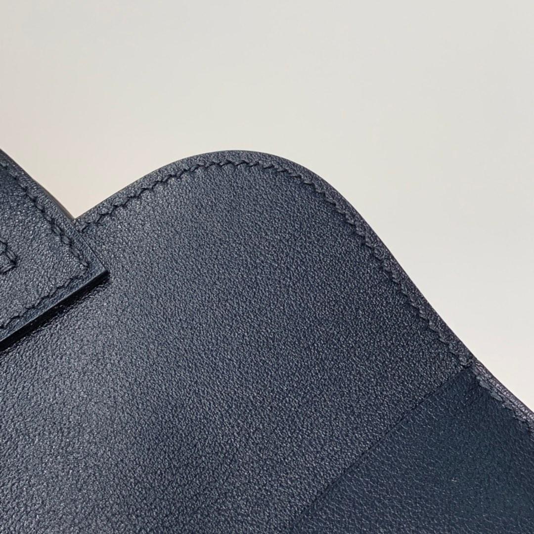 Hermes mini Halzan22CM 爱马仕黑色进口Swift牛皮手提斜挎包包 银扣
