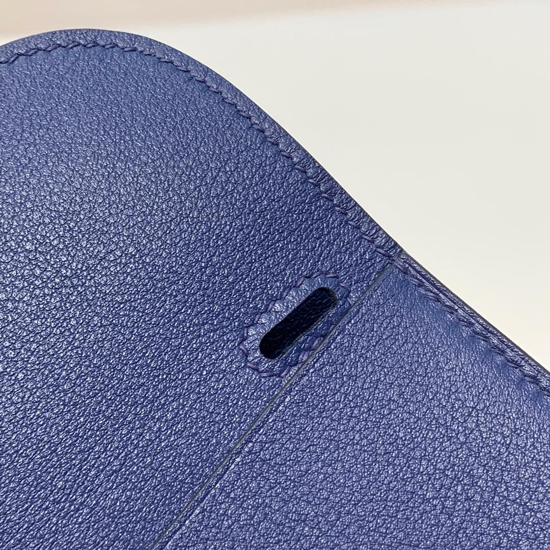 Hermes mini Halzan22CM 爱马仕宝石蓝Swift牛皮手提斜挎包包 银扣