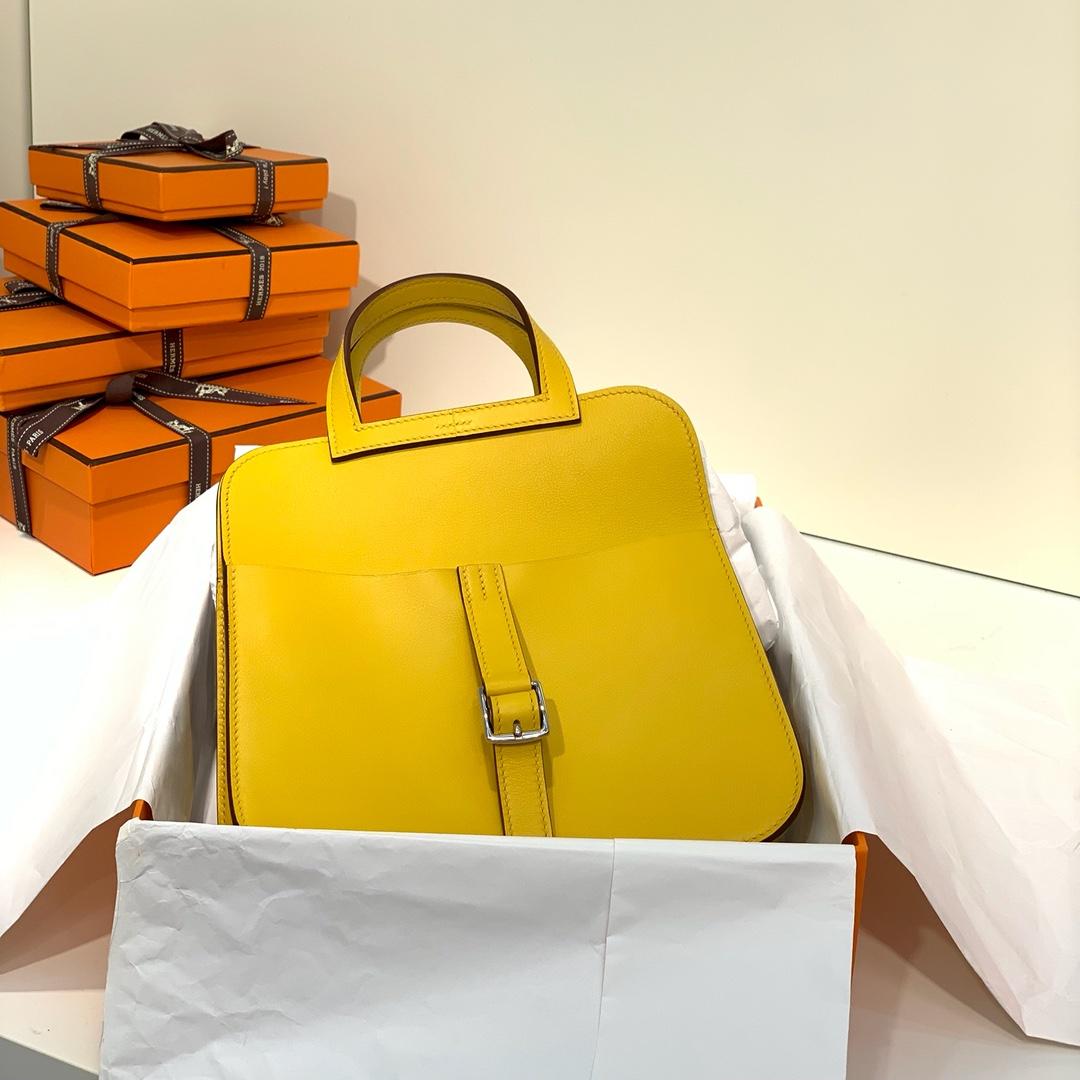 爱马仕新款女包 Hermes琥珀黄进口Swift牛皮mini Halzan22CM手提包