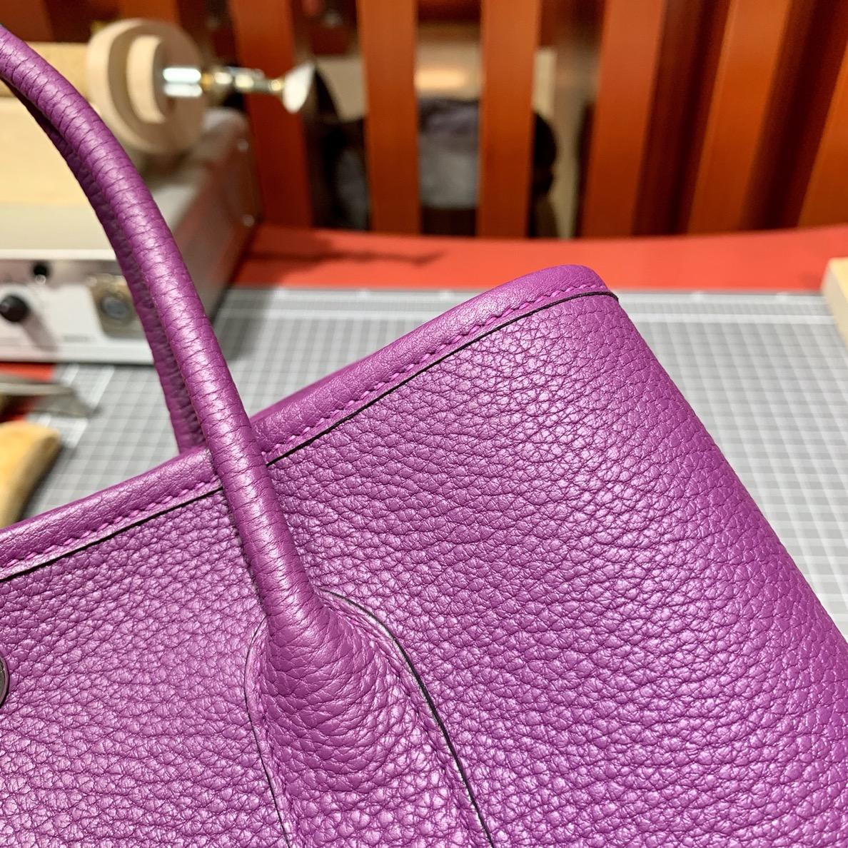 Hermes Garden Party30cm 爱马仕P9海葵紫Negonda皮花园包女款手提包