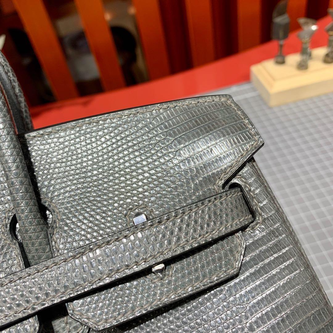 现货 爱马仕Birkin女包 Hermes Birkin25cm 锡器灰蜥蜴皮铂金包 银扣