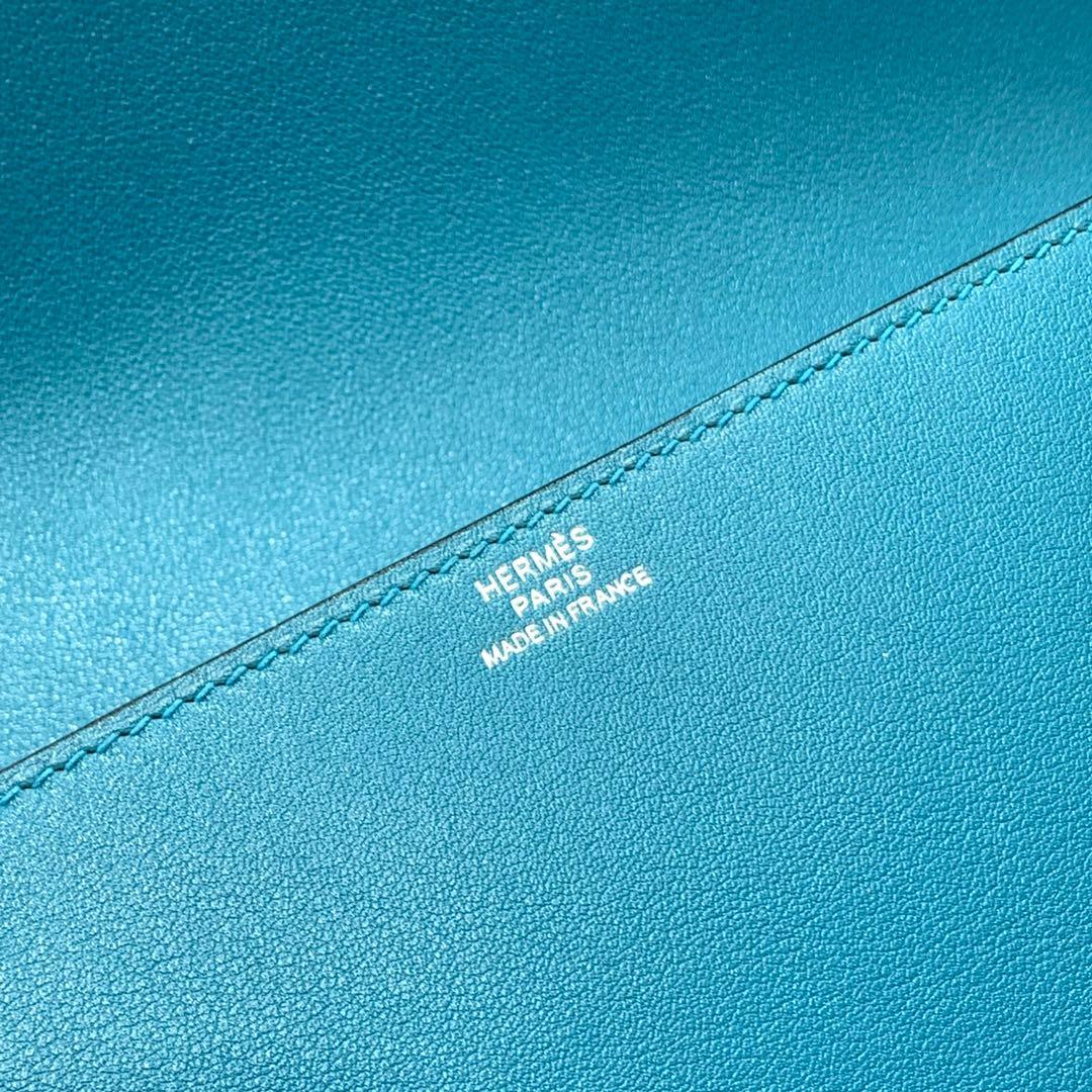 爱马仕新款手包 Hermes Medor Clutch伊滋密尔蓝Swift牛皮CDC扣手包 银扣