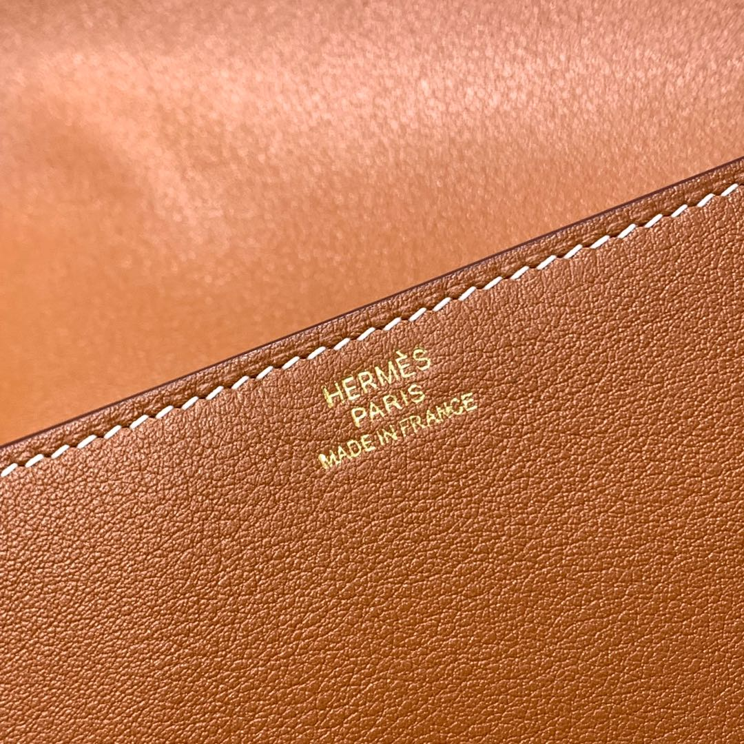 现货 爱马仕CDC手包 Hermes Medor Clutch金棕色Swift牛皮手包 金扣