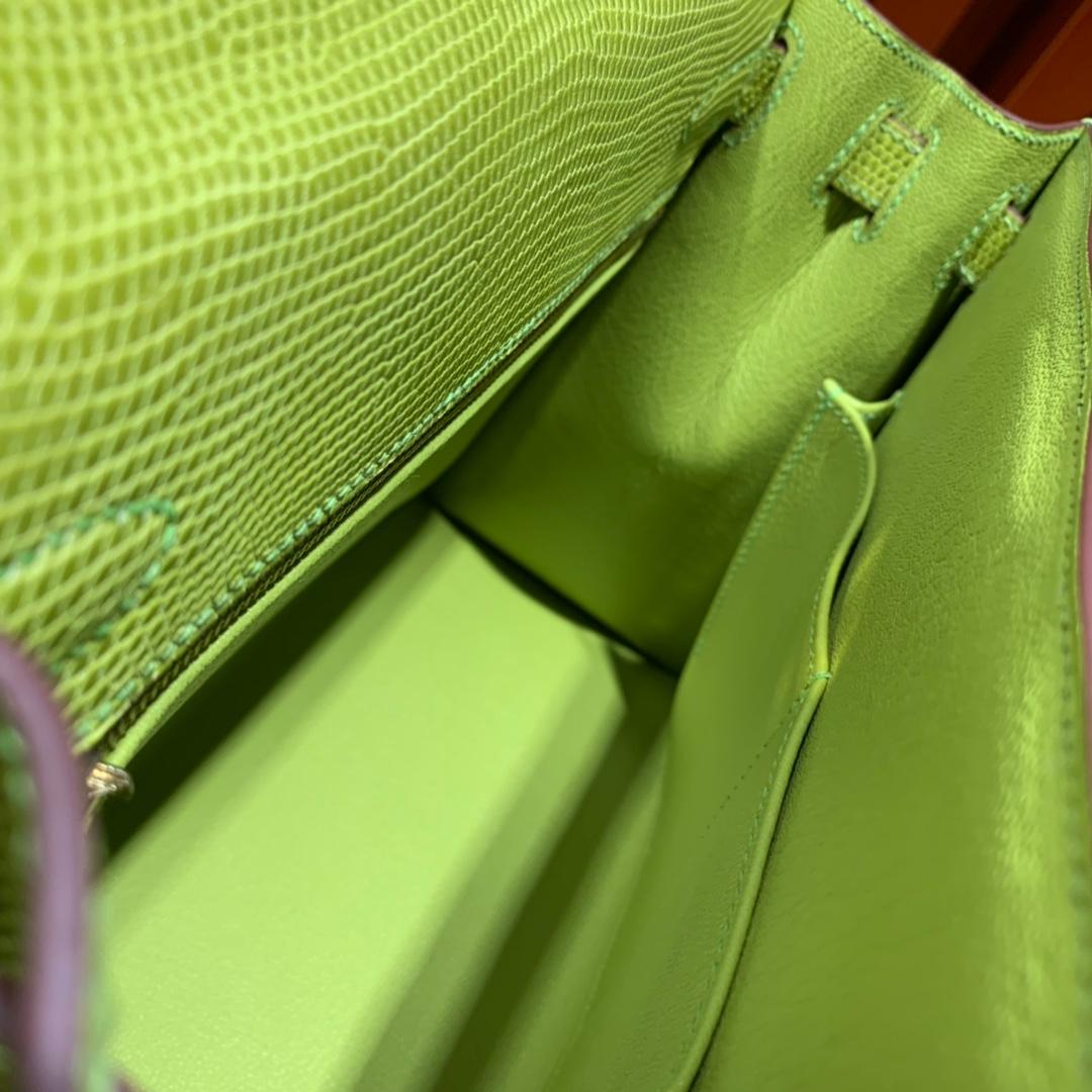 爱马仕女包批发 Hermes Kelly28cm 浅绿色进口蜥蜴皮凯莉包 金扣