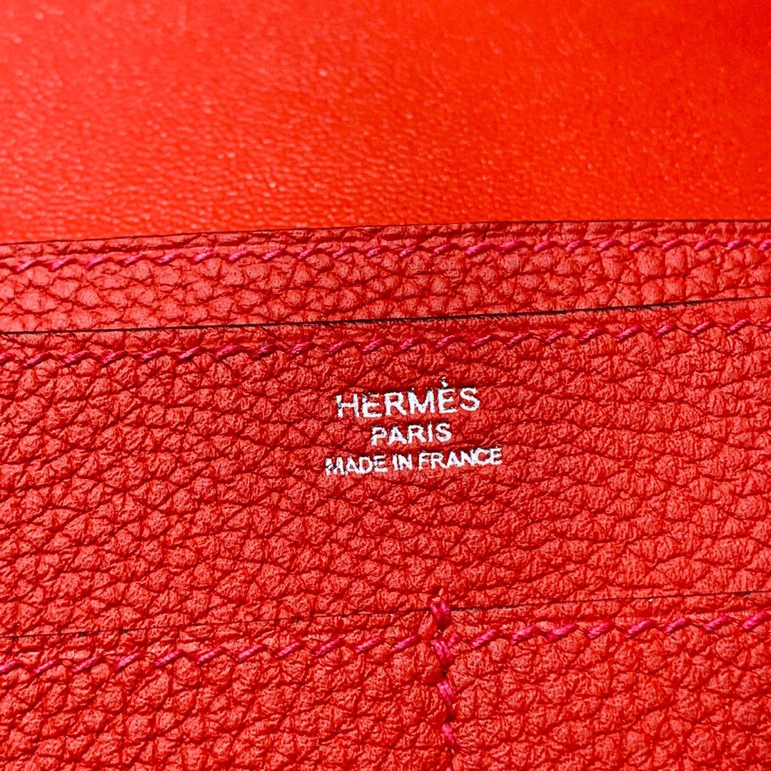 爱马仕Dogon护照本 Hermes进口荔枝纹吸扣钱夹手包 浅大红 银扣