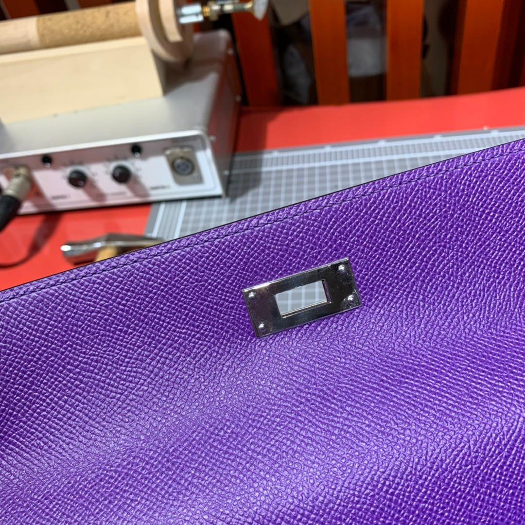 爱马仕Kelly女包 Hermes Kelly28CM 5L梦幻紫Epsom皮凯莉包 金银扣