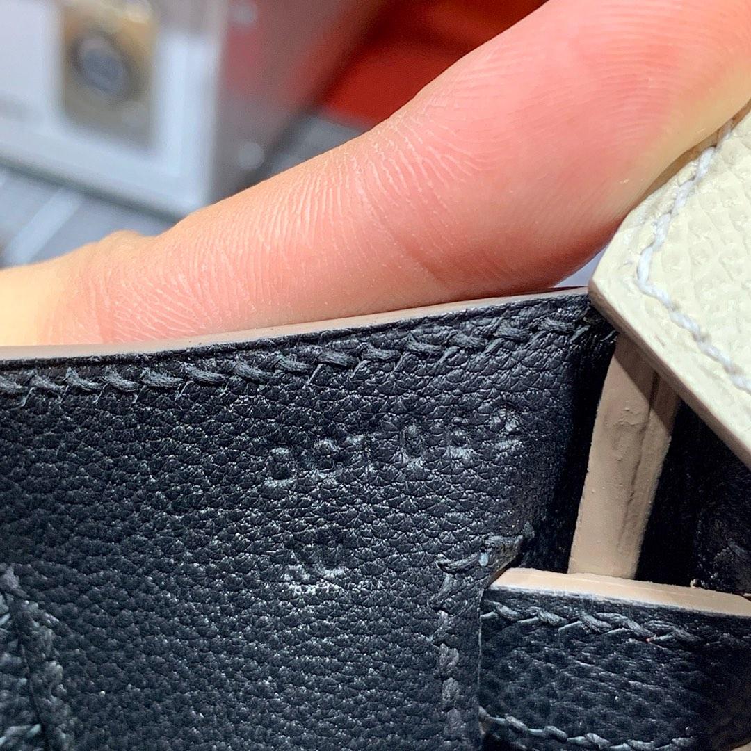 爱马仕拼色铂金包 Hermes Birkin25CM 奶昔白拼黑色Epsom皮 银扣