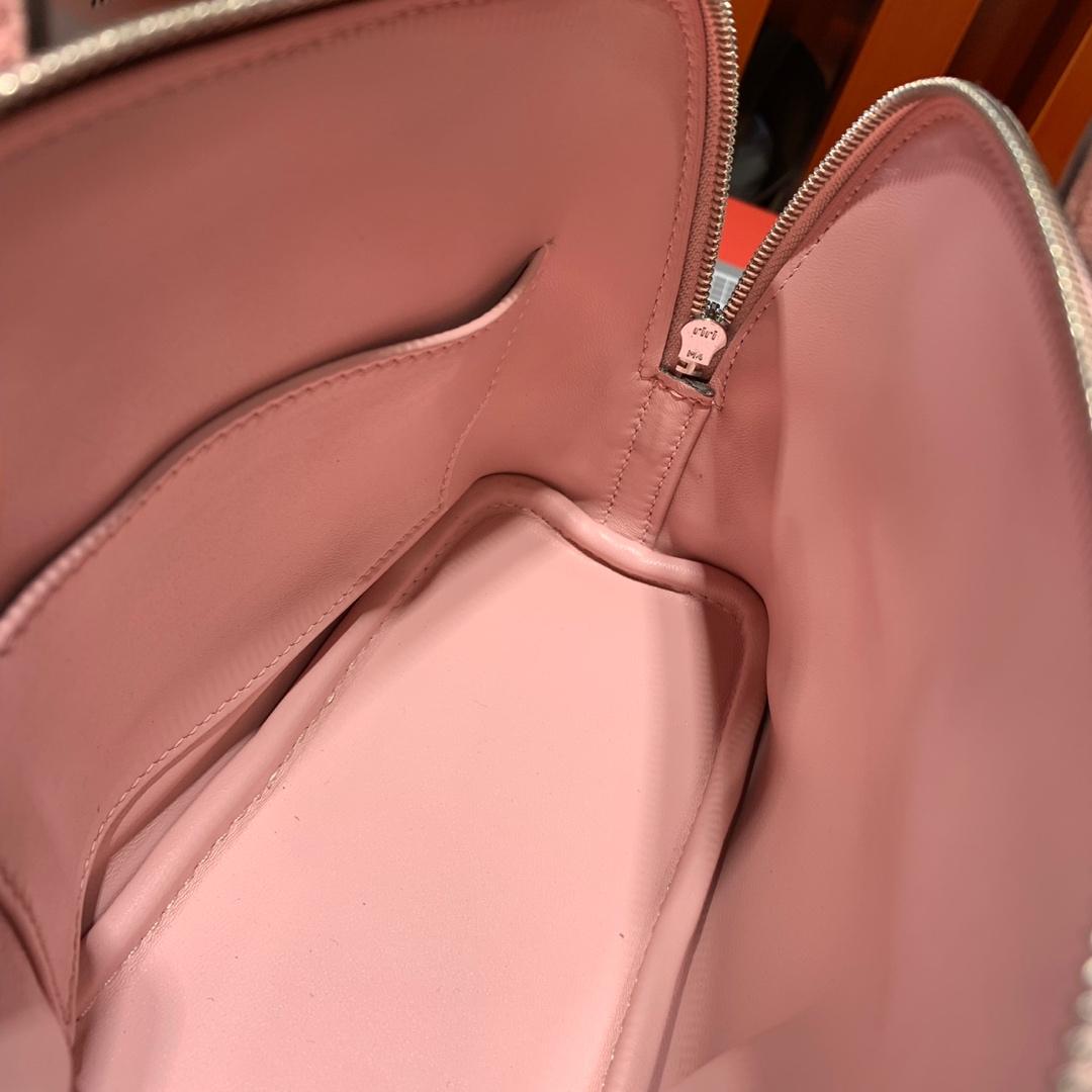 Hermes爱马仕进口山羊皮迷你保龄球包Mini Bolide18CM迷你小包 3Q粉色 银扣