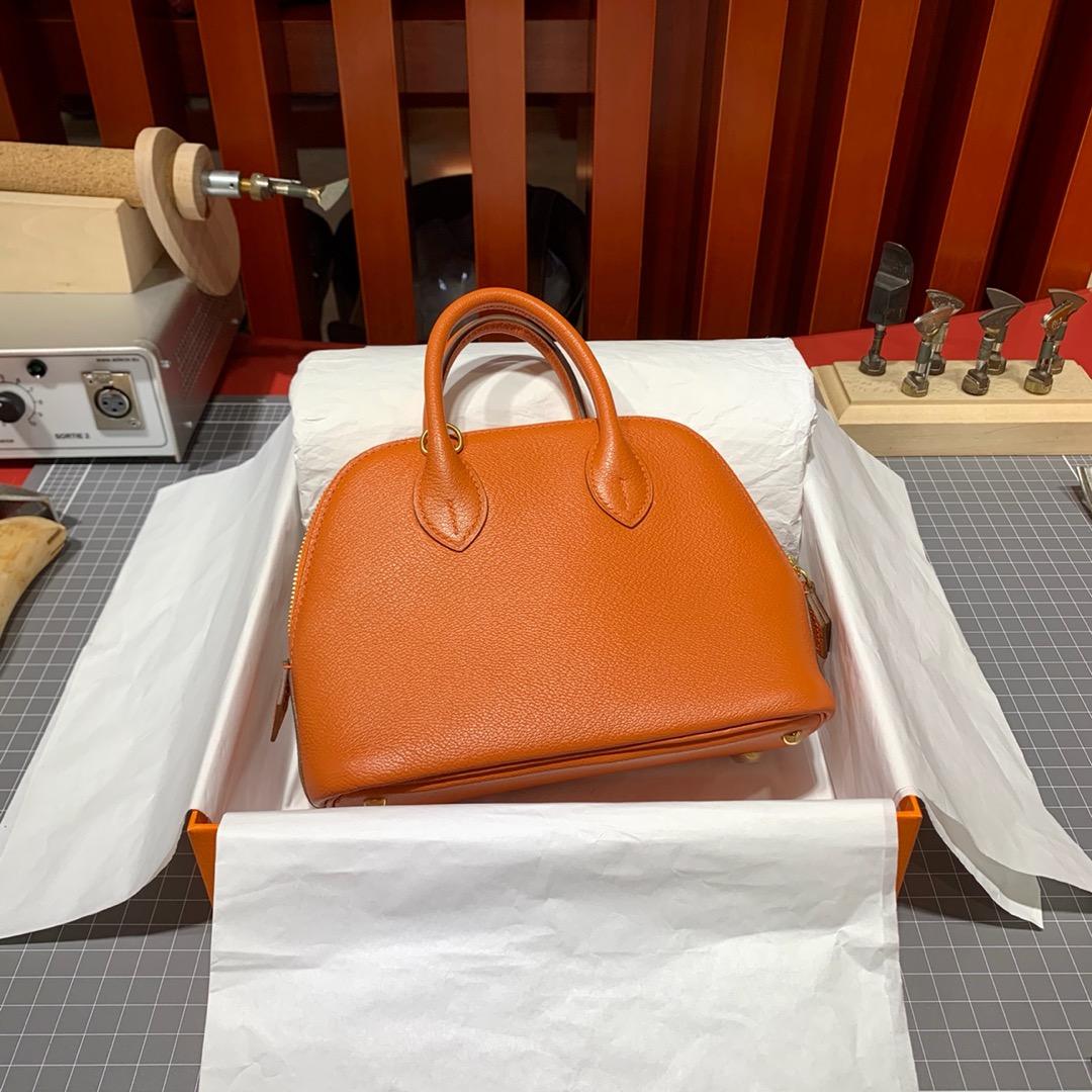 爱马仕新款女包 Hermes Mini Bolide18CM 橙色山羊皮迷你保龄球包 金扣