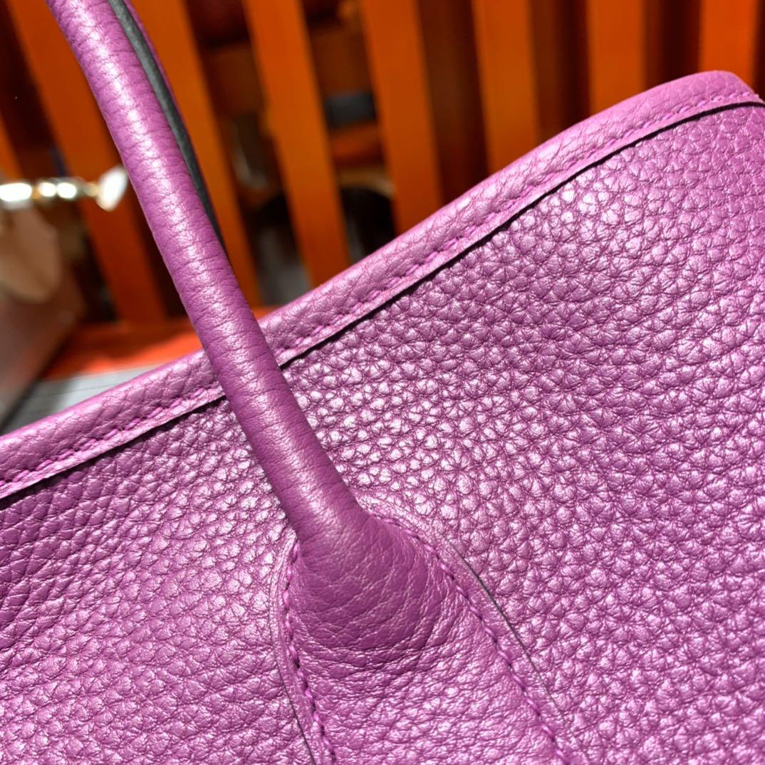 现货 Hermes Garden Party30cm 爱马仕海葵紫Negonda皮花园包 银扣