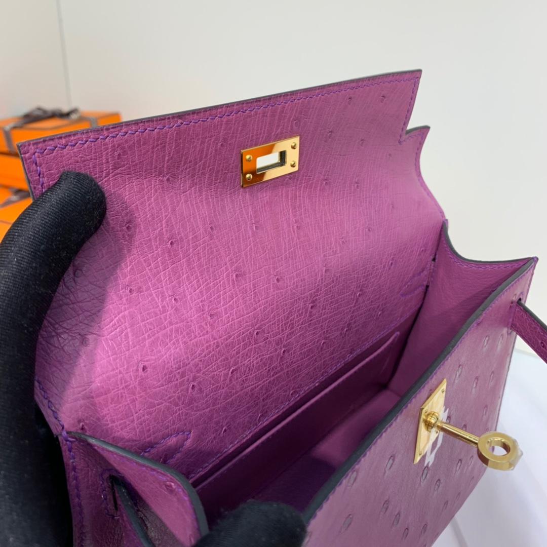 爱马仕包包批发 Hermes海葵紫顶级鸵鸟皮Minikelly迷你凯莉包手包 金扣