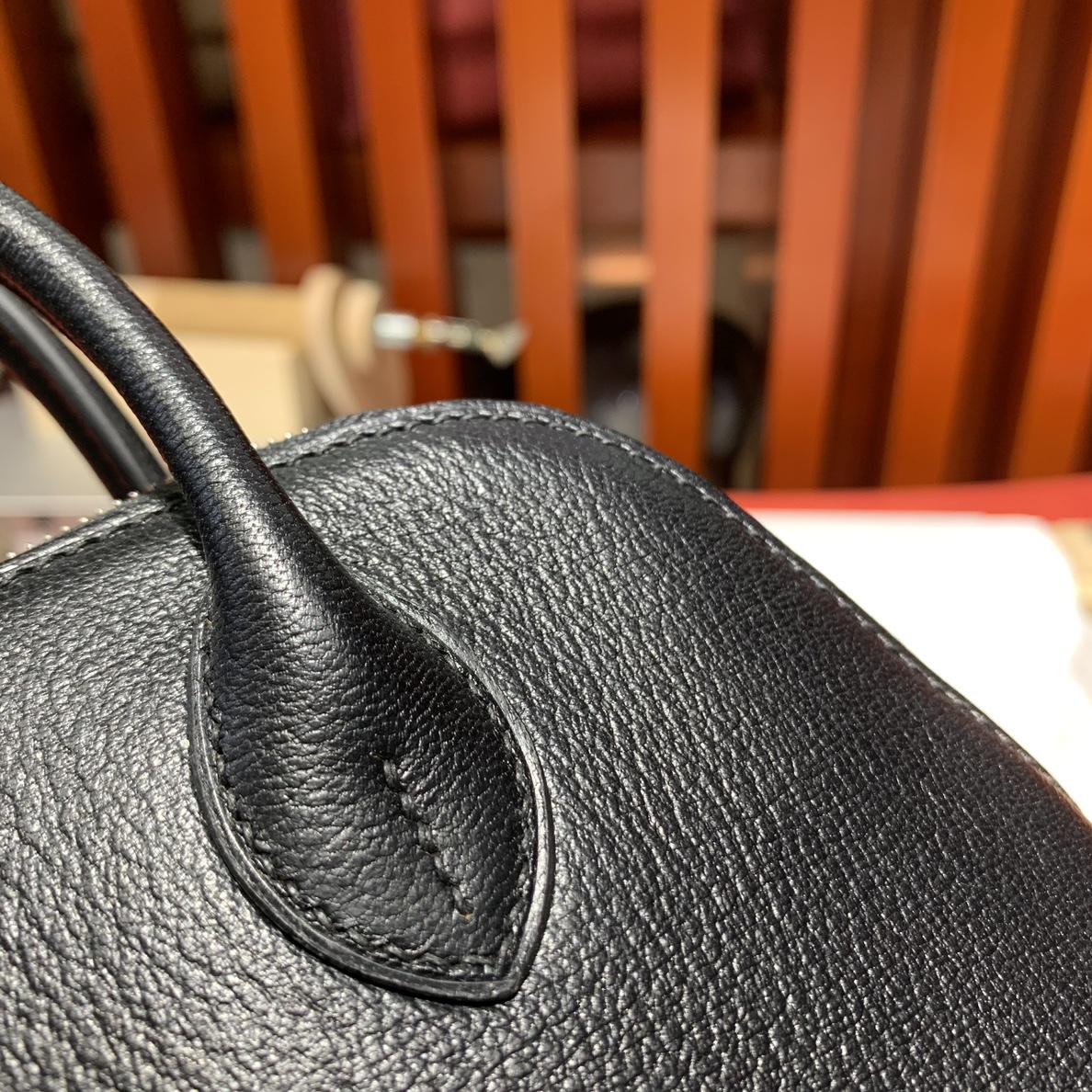 Hermes Mini Bolide18CM 爱马仕黑色进口山羊皮迷你保龄球包 银扣