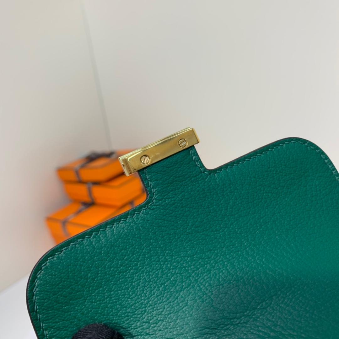 爱马仕钱夹价格 Hermes黑色内拼孔雀绿亮光鳄鱼皮H扣短款钱包 金扣