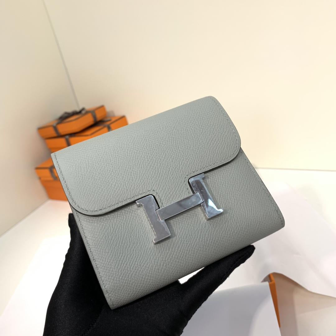 Hermes经典款钱包 爱马仕H扣Epsom皮康斯坦钱夹卡包 冰川灰 银扣