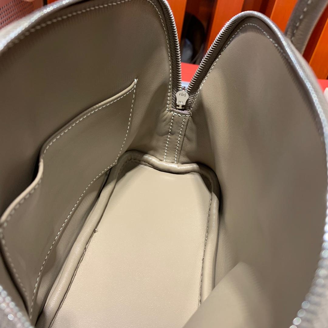 爱马仕迷你保龄球包 Hermes大象灰山羊皮Mini Bolide18CM 白线 银扣
