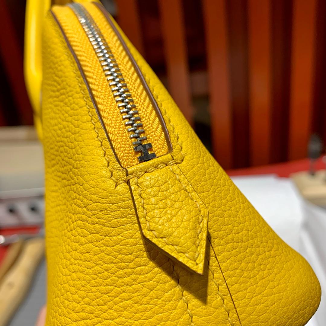 爱马仕包包批发 Hermes Mini Bolide18CM 琥珀黄迷你保龄球包 银扣