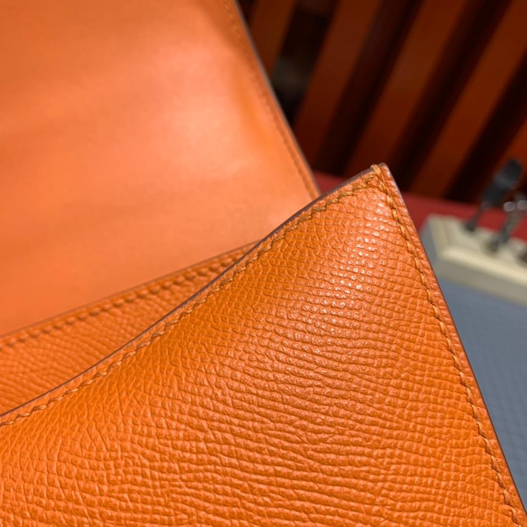 现货 Hermes包包官网 爱马仕橙色Epsom皮空姐包Constance24cm 银扣