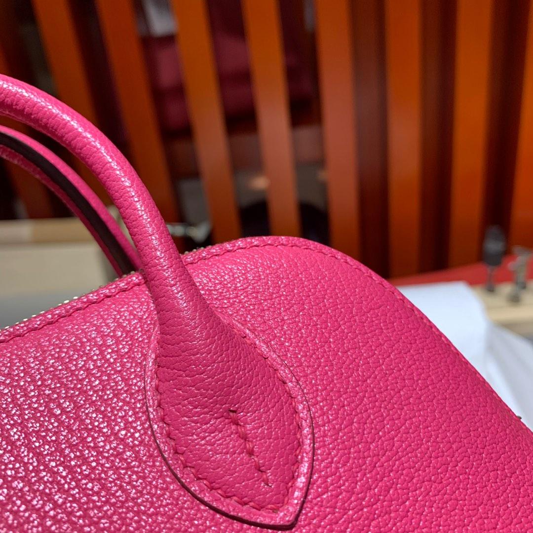 现货 Hermes Mini Bolide18CM 爱马仕玫红色进口山羊皮迷你保龄球包 金扣