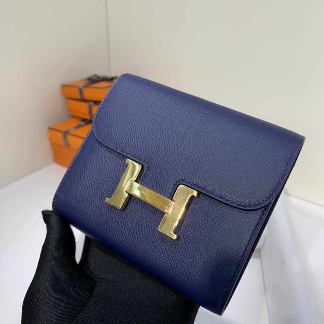 爱马仕康斯坦钱夹 Hermes宝石蓝epsom牛皮H扣短款钱包卡包 金扣
