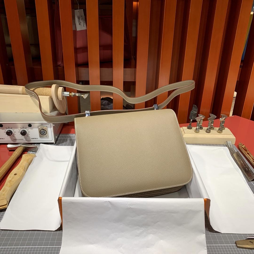 现货 Hermes Constance24CM 爱马仕原厂Epsom皮康斯坦包 大象灰 银扣