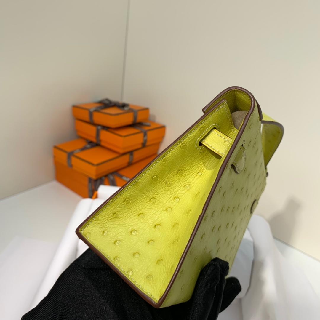 现货 爱马仕迷你凯莉包 Hermes Minikelly Pochette22CM 柠檬黄鸵鸟皮 金扣