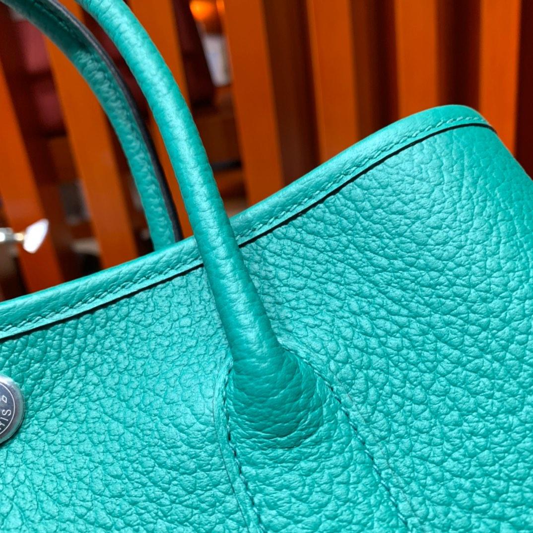 爱马仕花园包批发 Hermes Garden Party30cm 丝绒绿进口Country皮 银扣