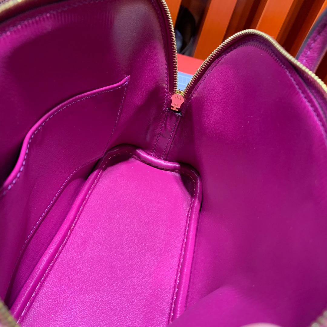 Hermes Mini Bolide18CM 爱马仕托斯卡紫色进口山羊皮保龄球包迷你款 金扣