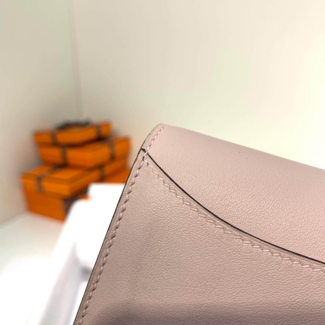 Hermes钱包批发 爱马仕原厂Swift牛皮Constance康斯坦短款钱夹 3Q粉色 金扣