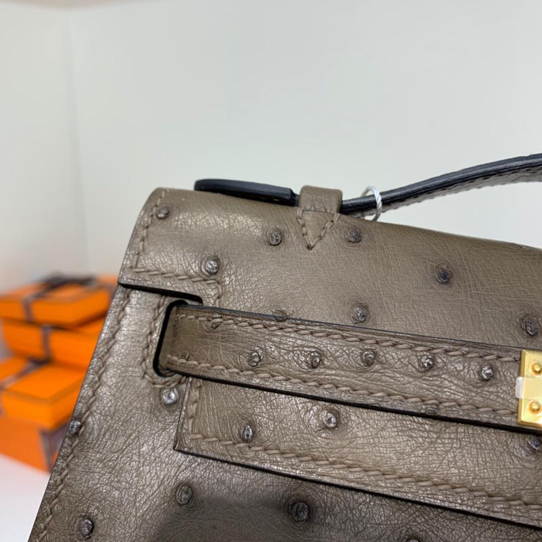 Hermes包包批发 爱马仕大象灰顶级鸵鸟皮Minikelly22CM迷你凯莉包 金扣