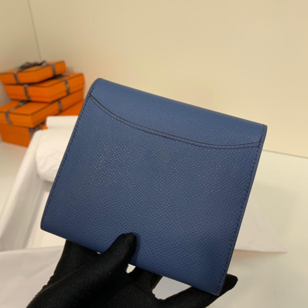 爱马仕H扣钱夹 Hermes玛瑙蓝Epsom牛皮609短款康斯坦钱包 银扣
