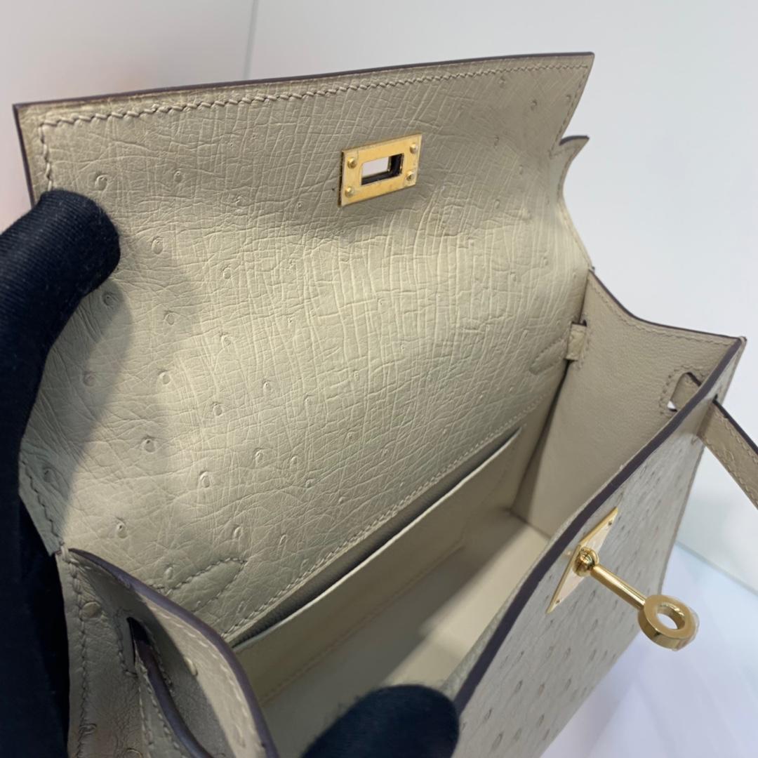 Hermes包包官网 爱马仕羊毛白顶级鸵鸟皮迷你凯莉包Minikelly22cm 金扣