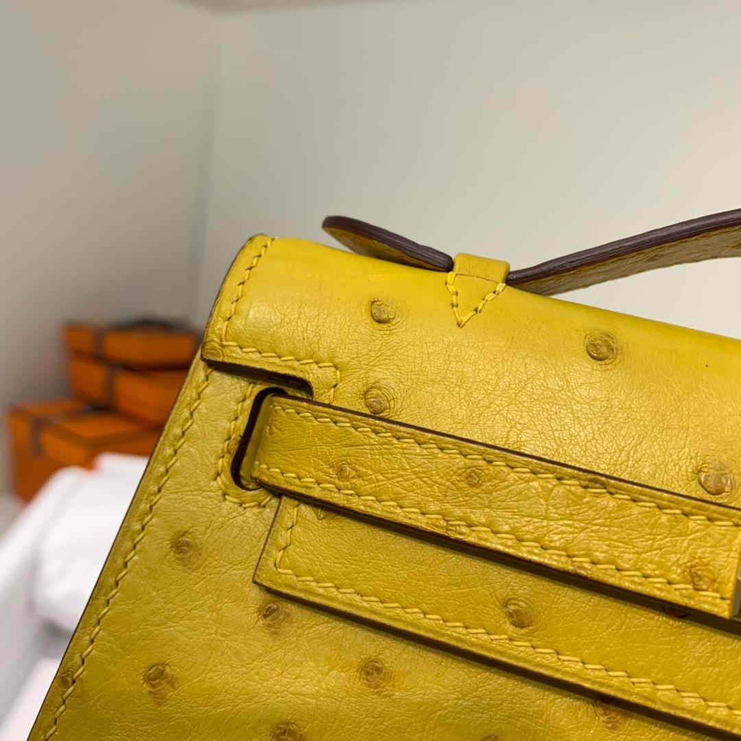 爱马仕迷你凯莉包价格 Hermes Minikelly22CM 琥珀黄进口鸵鸟皮 金扣
