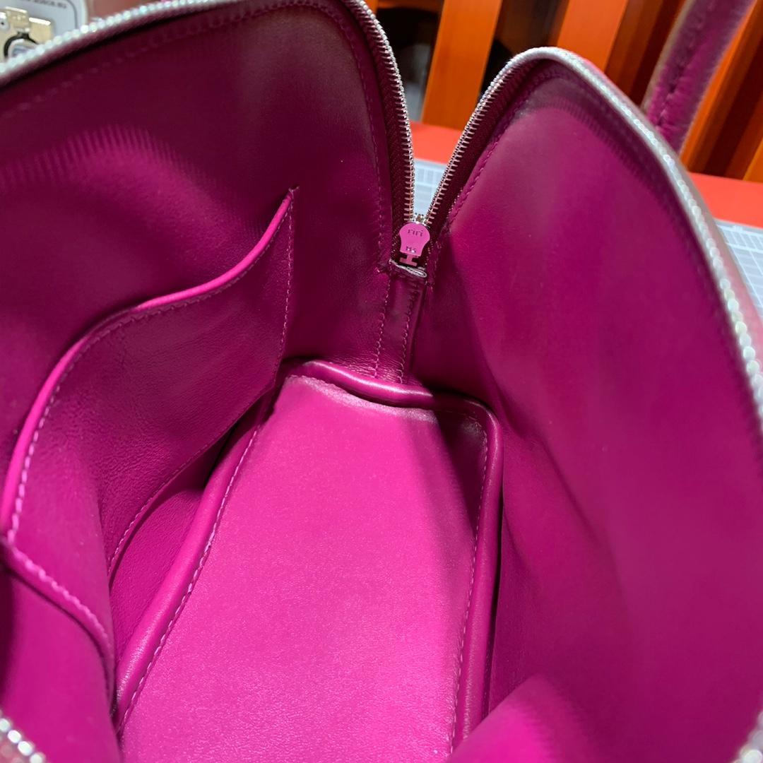 爱马仕包包官网 Hermes山羊皮Mini Bolide迷你保龄球包18CM 托斯卡紫 银扣