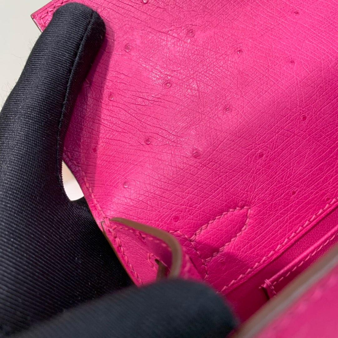 现货 爱马仕Minikelly手包 Hermes桃红色顶级鸵鸟皮迷你凯莉包22cm 金扣