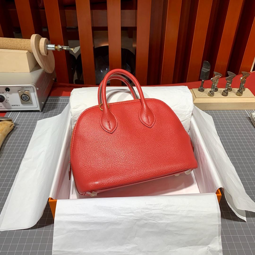 爱马仕女包价格 Hermes Mini Bolide18CM 西瓜红进口山羊皮保龄球包 金扣
